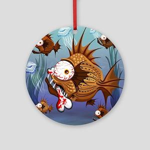 Psycho Fish Piranha Round Ornament