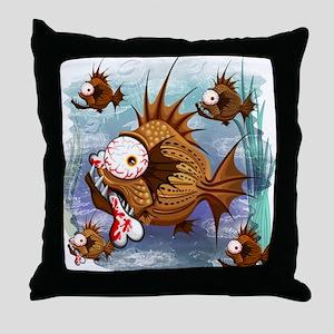 Psycho Fish Piranha Throw Pillow