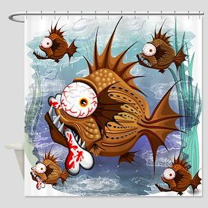 Psycho Fish Piranha Shower Curtain