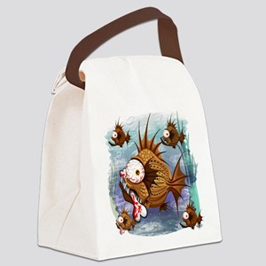 Psycho Fish Piranha Canvas Lunch Bag