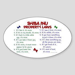 Shiba Inu Property Laws 2 Oval Sticker