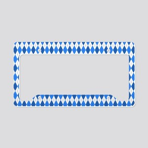 Blue and White Argyle Pattern License Plate Holder