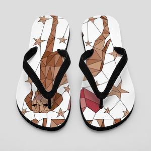 Geometric Vizsla Flip Flops