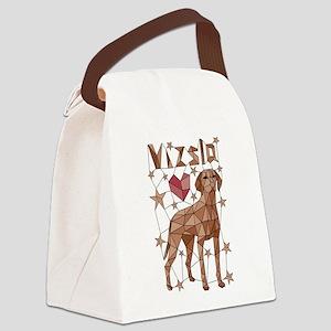 Geometric Vizsla Canvas Lunch Bag