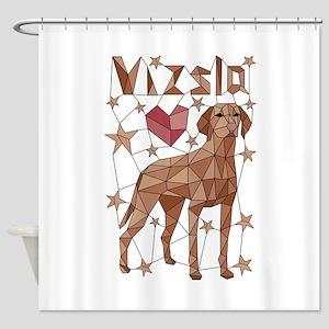 Geometric Vizsla Shower Curtain