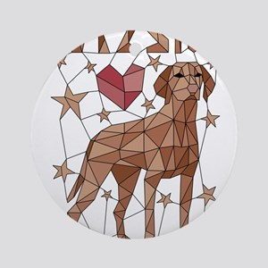 Geometric Vizsla Round Ornament