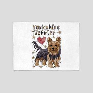 Geometric Yorkshire Terrier 5'x7'Area Rug