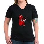 Fox Tail Women's V-Neck Dark T-Shirt