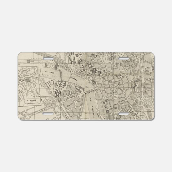 Vintage Map of Toulouse Fra Aluminum License Plate