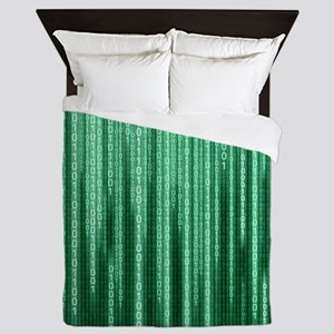 Green Binary Rain Queen Duvet