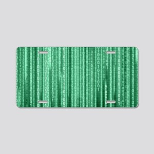 Green Binary Rain Aluminum License Plate