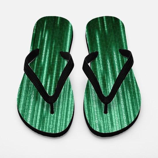 Green Binary Rain Flip Flops