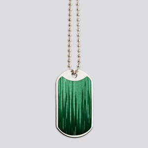 Green Binary Rain Dog Tags