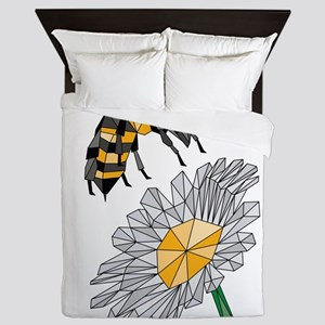Geometric Bee & Flower Queen Duvet