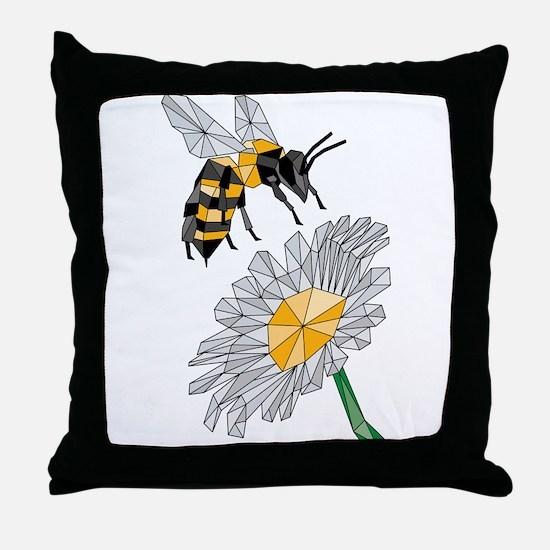 Geometric Bee & Flower Throw Pillow