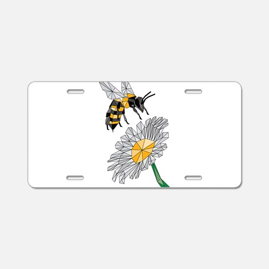 Geometric Bee & Flower Aluminum License Plate