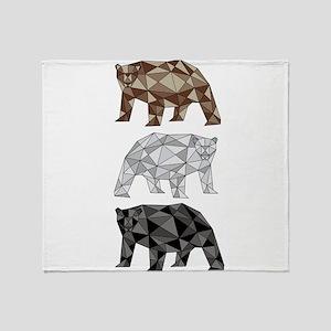 Geometric Bears Throw Blanket