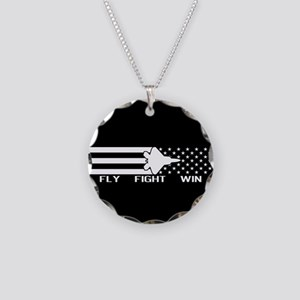 U.S. Military: F-22 - Fly Fi Necklace Circle Charm