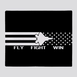 U.S. Military: F-22 - Fly Fight Win Throw Blanket
