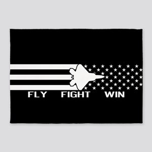 U.S. Military: F-22 - Fly Fight Win 5'x7'Area Rug