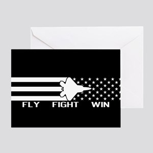 U.S. Military: F-22 - Fly Fight Win Greeting Card