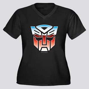 Transformers Women's Plus Size V-Neck Dark T-Shirt