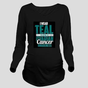 Ovarian Cancer Long Sleeve Maternity T-Shirt