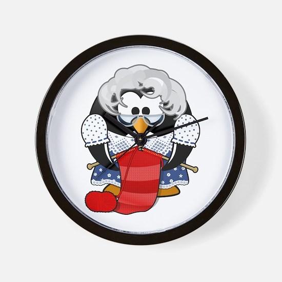 Cute Grandma Penguin Knitting Cartoon Wall Clock