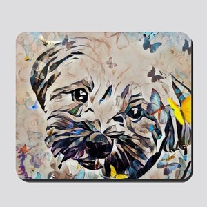 Shorkie with butterflies Mousepad