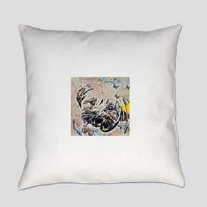 Shorkie with butterflies Everyday Pillow