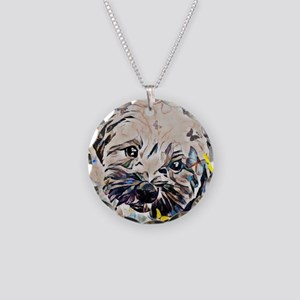Shorkie with butterflies Necklace Circle Charm