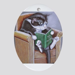 Reading Cat Oval Ornament