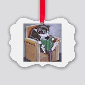Reading Cat Picture Ornament