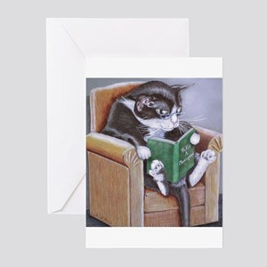 Reading Cat Greeting Cards