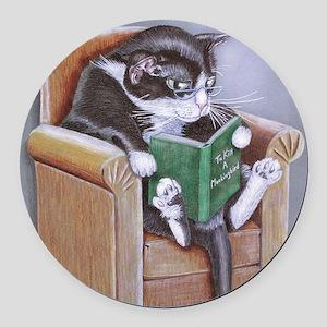 Reading Cat Round Car Magnet