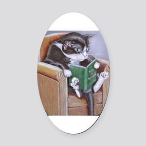 Reading Cat Oval Car Magnet