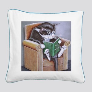 Reading Cat Square Canvas Pillow