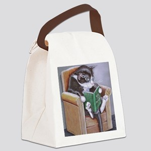Reading Cat Canvas Lunch Bag