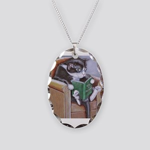 Reading Cat Necklace Oval Charm