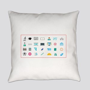 Assorted School Icons Everyday Pillow
