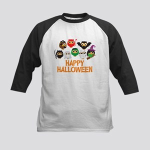 Halloween Owls in Costume Baseball Jersey