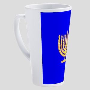 Blue Glowing Chanukah Menorah 4Gur 17 oz Latte Mug