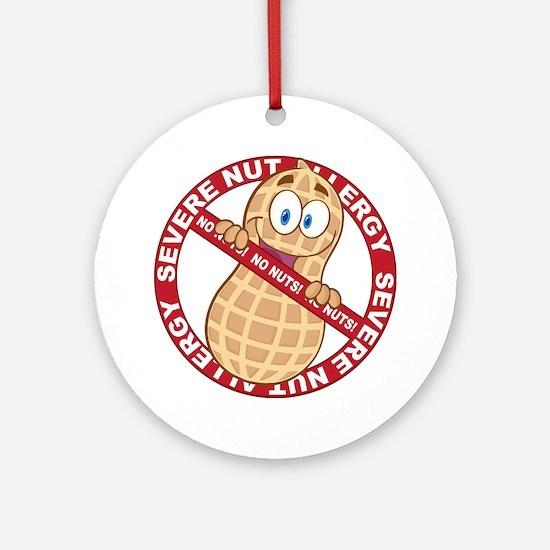 Severe Nut Allergy Round Ornament