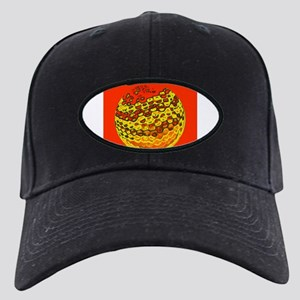 Really Red Abstract Golf Ball Black Cap with Patch