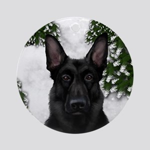 BLACK GERMAN SHEPHERD DOG WINTER Ornament (Round)