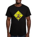 Moose Warning Men's Fitted T-Shirt (dark)