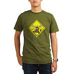 Moose Warning Organic Men's T-Shirt (dark)