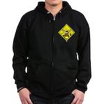 Moose Warning Zip Hoodie (dark)