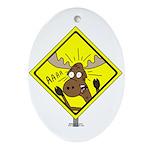 Moose Warning Oval Ornament