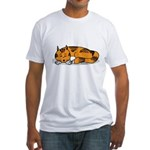 Cat Contemplation Fitted T-Shirt